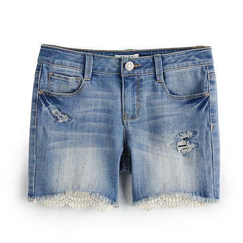 Girls 7-16 & Plus Size Mudd® Crochet Hem Midi Shorts