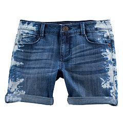 Girls 7-16 & Plus Size Mudd® Bleached Side Midi Jean Shorts