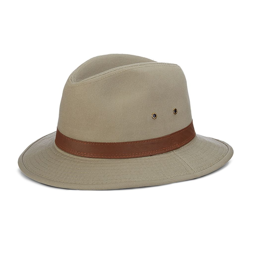 Men's DPC Washed Twill Safari Hat with Faux-Leather Trim