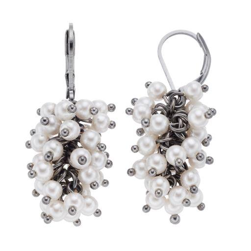 Simply Vera Vera Wang Simulated Pearl Cluster Nickel Free Drop Earrings