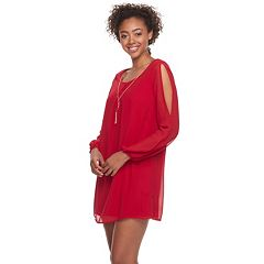Juniors' Lily Rose Split-Sleeve Shift Dress