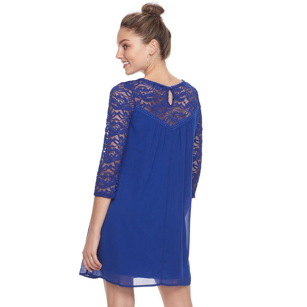Juniors' Lily Rose Lace Yoke Swing Dress