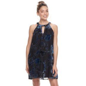 Juniors' Lily Rose Floral Burnout Halter Dress