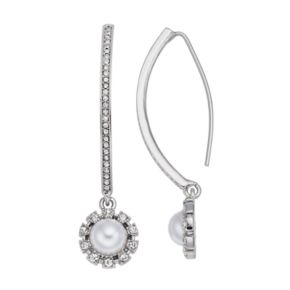 Simply Vera Vera Wang Simulated Pearl Halo Nickel Free Threader Earrings