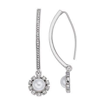 Simply Vera Vera Wang Simulated Pearl Halo Nickel Free Threader Earrings