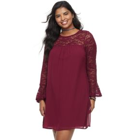 Juniors' Plus Size Lily Rose Bell Sleeve Lace Shift Dress