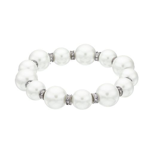 Simply Vera Vera Wang Simulated Pearl Rondelle Stretch Bracelet