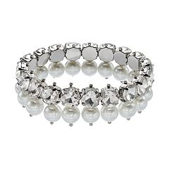 Simply Vera Vera Wang Stacked Simulated Crystal & Simulated Pearl Stretch Bracelet