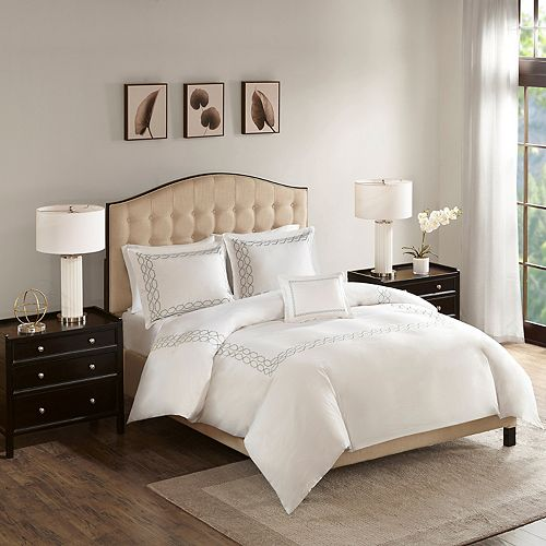 Madison Park Signature Luxury Collection 1000 Thread Count Embroidered 4-piece Duvet Cover Set