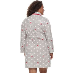Plus Size Jockey Microfleece Long Sleeve Robe