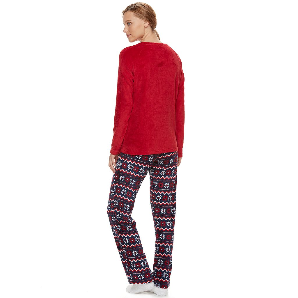 Women's Be Yourself Pajamas: Fleece Top, Pants & Socks PJ Set