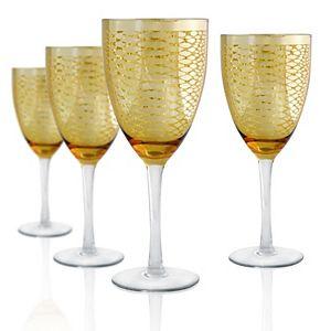 Artland Animal Skin Gold 4-pc. Wine Glass Set