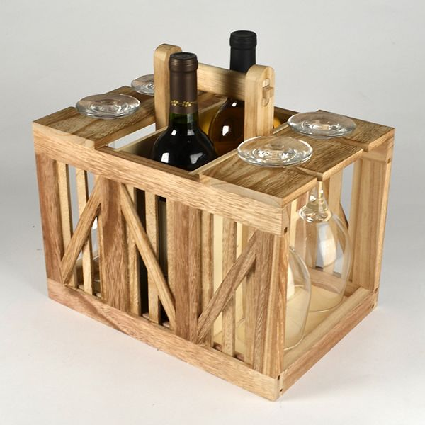 Artland Home Mixology Wine Caddy Wood Crate