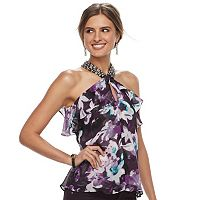 Women's Jennifer Lopez Embellished Ruffle Halter Top