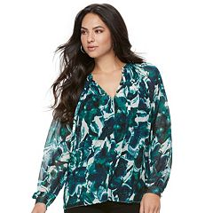Women's Jennifer Lopez Printed Peasant Top