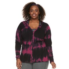 Plus Size Balance Collection Tie-Dye Zip Front Hoodie