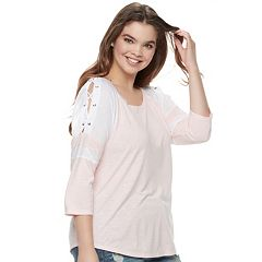 Juniors' Plus Size SO® Lace-Up Colorblock Raglan Tee