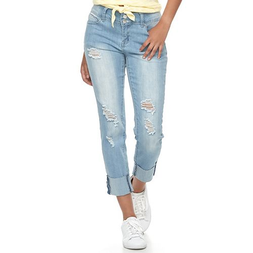 Juniors' Almost Famous Cuffed Ripped Skinny Jeans