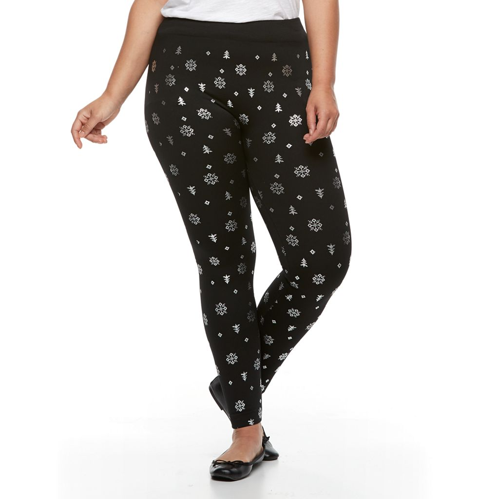 Plus Size French Laundry Foiled Snowflake Legging