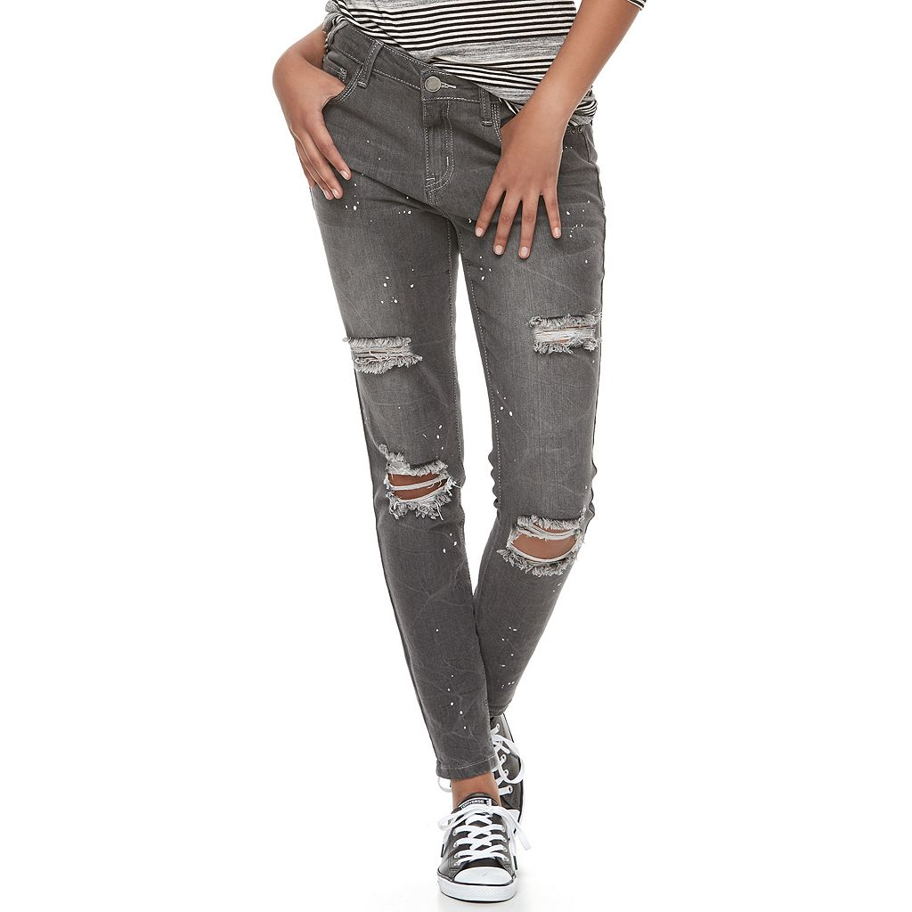 Juniors' Almost Famous Paint Splatter Ripped Skinny Jeans