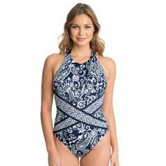 Women's Upstream Paisley High Neck One-Piece Swimsuit
