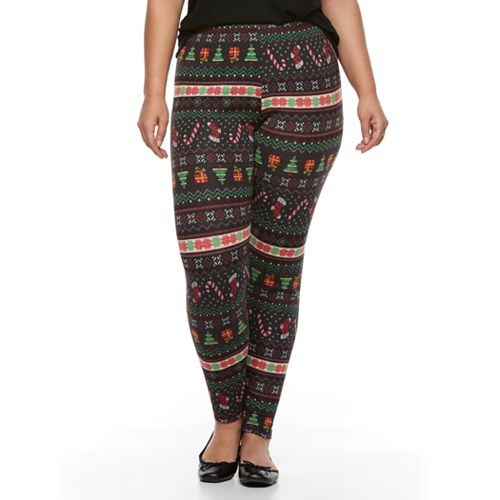 Plus Size Christmas Leggings.Plus Size French Laundry Christmas Printed Legging