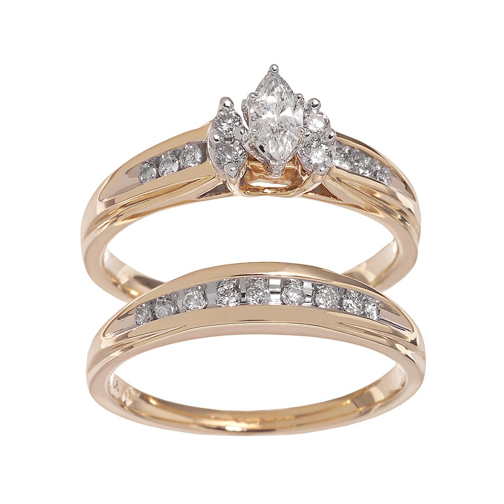 d8eaf80fff Lovemark Marquise-Cut Diamond Engagement Ring Set in 14k Gold ...