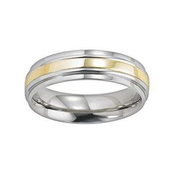 Lovemark Two Tone Stainless Steel Men's Wedding Band