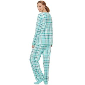Women's Croft & Barrow® Pajamas: Fleece Henley Top, Pants & Socks PJ Set