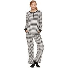 Women's Croft & Barrow® Pajamas: Fleece Henley Top, Pants & Socks PJ Set