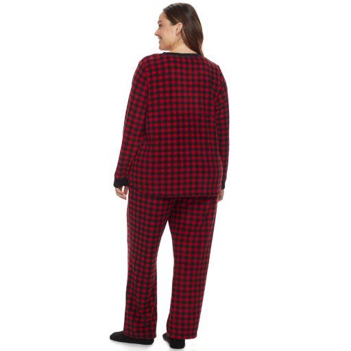 Plus Size Croft & Barrow® Pajamas: Fleece Henley Top, Pants & Socks PJ Set