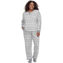 Plus Size Croft & Barrow® Pajamas: Fleece Henley Top, Pants & Socks PJ Set