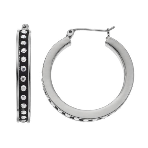 Simply Vera Vera Wang Rhinestone Studded Faux Suede Nickel Free Hoop Earrings