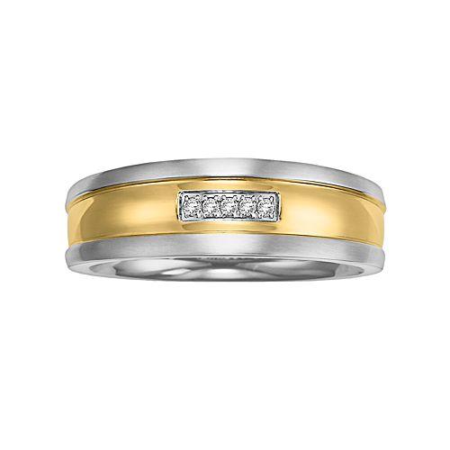 Lovemark Stainless Steel Two Tone Diamond Accent Men's Wedding Band