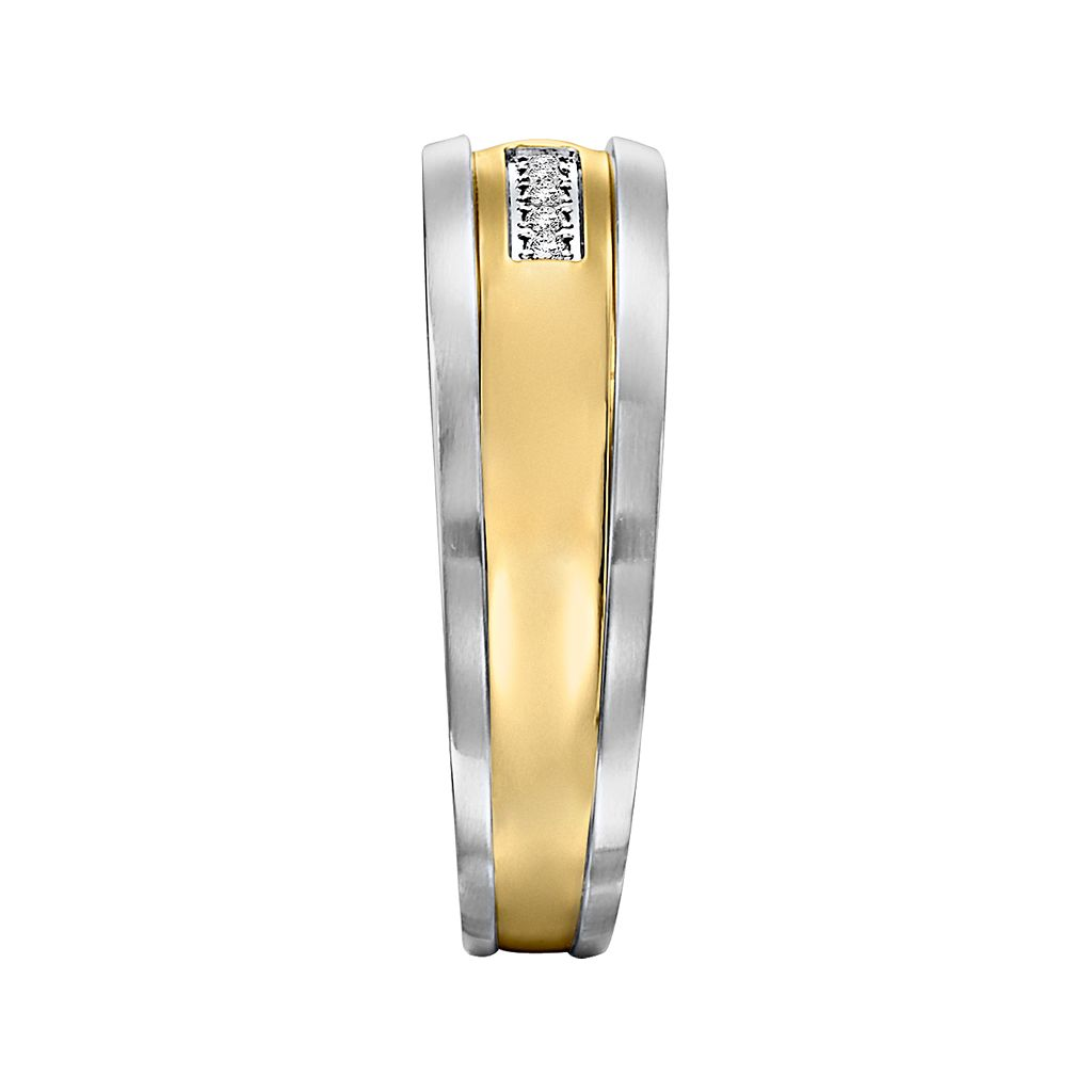 Lovemark Stainless Steel Two Tone Diamond Accent Men's Wedding Band