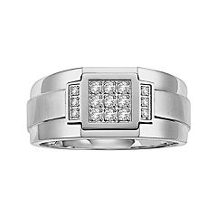 Lovemark Stainless Steel 1/5 ctT.W. Diamond Men's Wedding Band