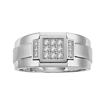 Lovemark Stainless Steel 1/5-ct. T.W. Diamond Men's Wedding Band