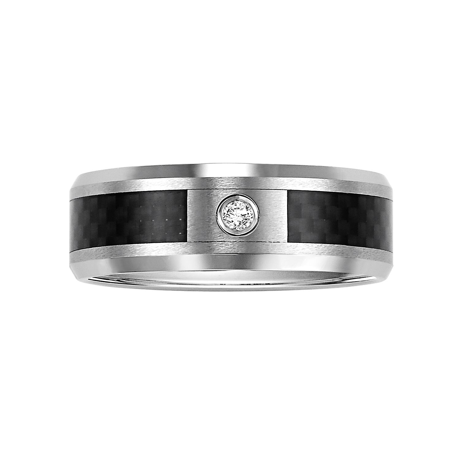 Stainless Steel Diamond Accent Mens Wedding Band