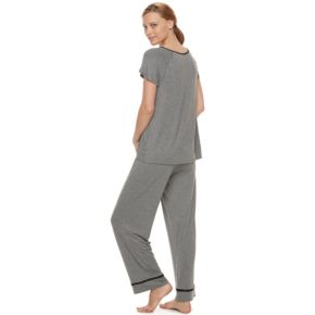 Women's Croft & Barrow® Lace Front PJ Set