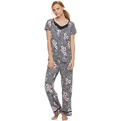 Women's Croft & Barrow® Lace Front PJ Set