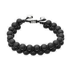 1913 Men's Lab-Created Onyx Bead Bolo Bracelet