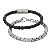 1913 Men's Stainless Steel Box Chain & Braided Black Leather Bracelet Set