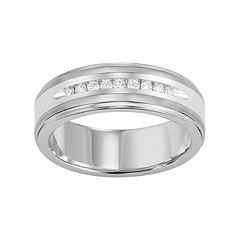 Lovemark 1/4 Carat T.W. Diamond Tungsten & Sterling Silver Men's Wedding Band