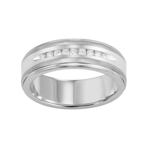 Lovemark 1/4 Carat T.W. Diamond Tungsten & Sterling Silver Men's Wedding Band
