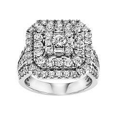 Lovemark Certified Diamond Triple Square Halo Engagement Ring in 10k White Gold (2 Carat T.W.)