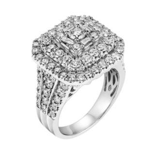 Lovemark Certified Diamond Triple Square Halo Engagement Ring in 10k White Gold (2 Carat T.W.)