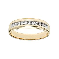Lovemark 10k Gold 1/4 Carat T.W. Certified Diamond Men's Wedding Band