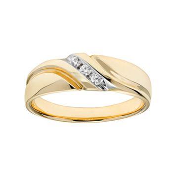 Lovemark 10k Gold 1/10 Carat T.W. Certified Diamond Men's Wedding Band
