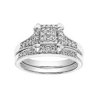 Lovemark 10k White Gold 1/3 Carat T.W. Square Cluster Engagement Ring Set