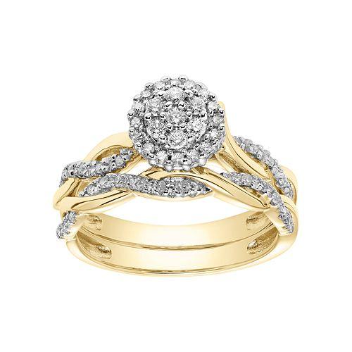 Lovemark 10k Gold 1/3 Carat T.W. Cluster Halo Engagement Ring Set